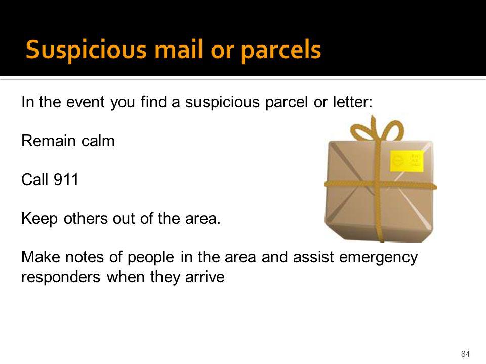 Suspicious mail or parcels