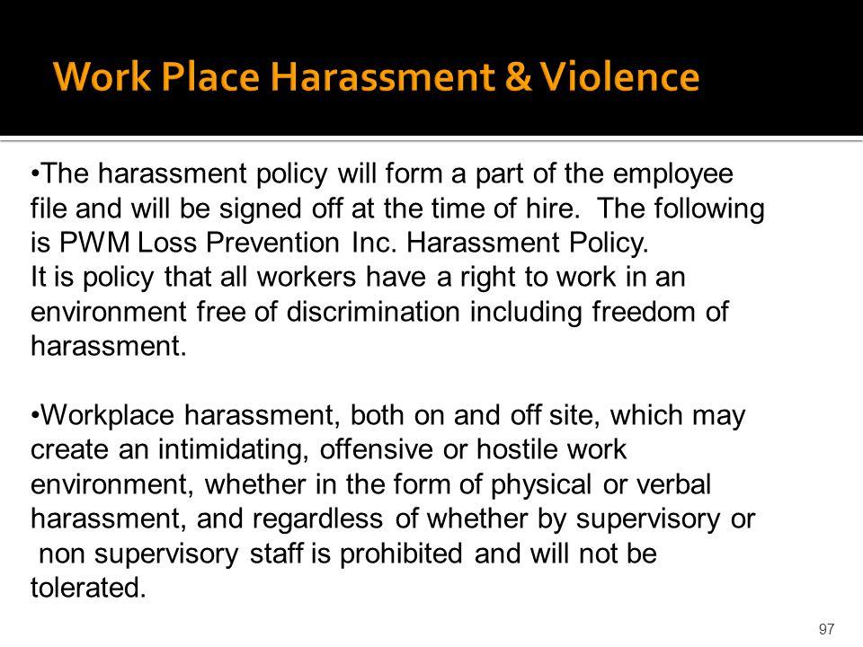 Work Place Harassment & Violence