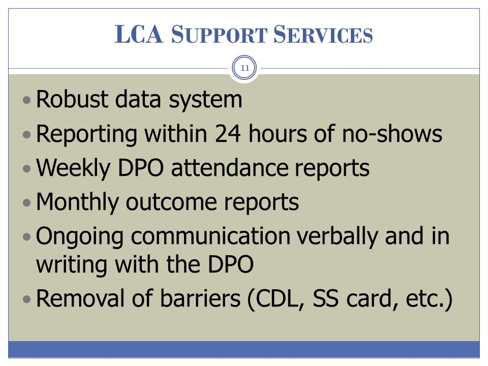 LCA Support Services Robust data system
