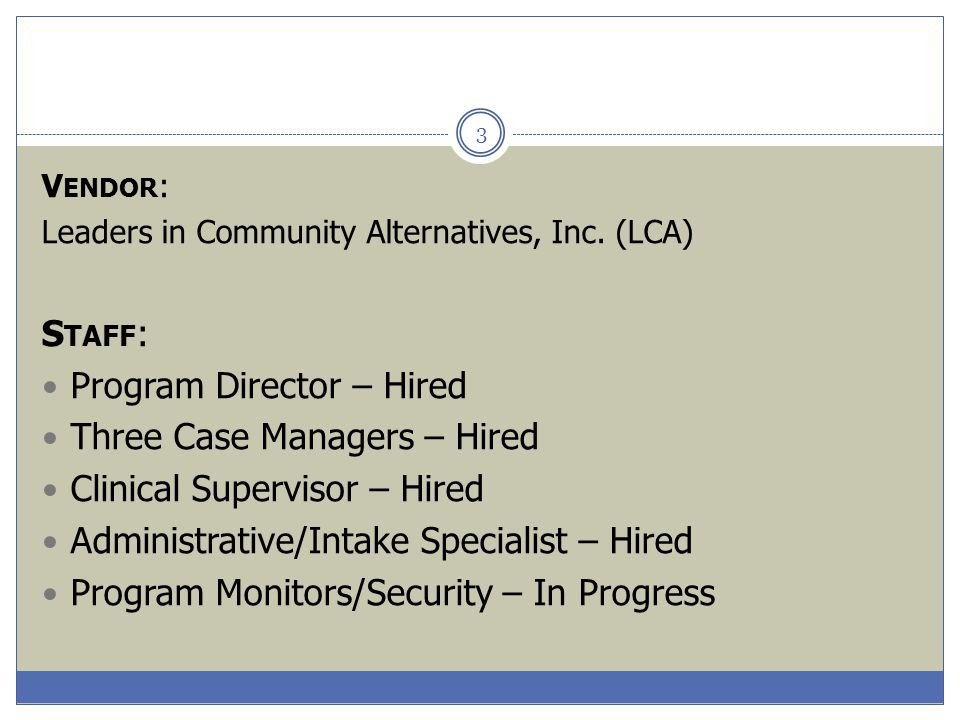 Program Director – Hired Three Case Managers – Hired