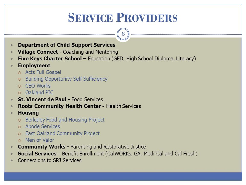 Service Providers Department of Child Support Services