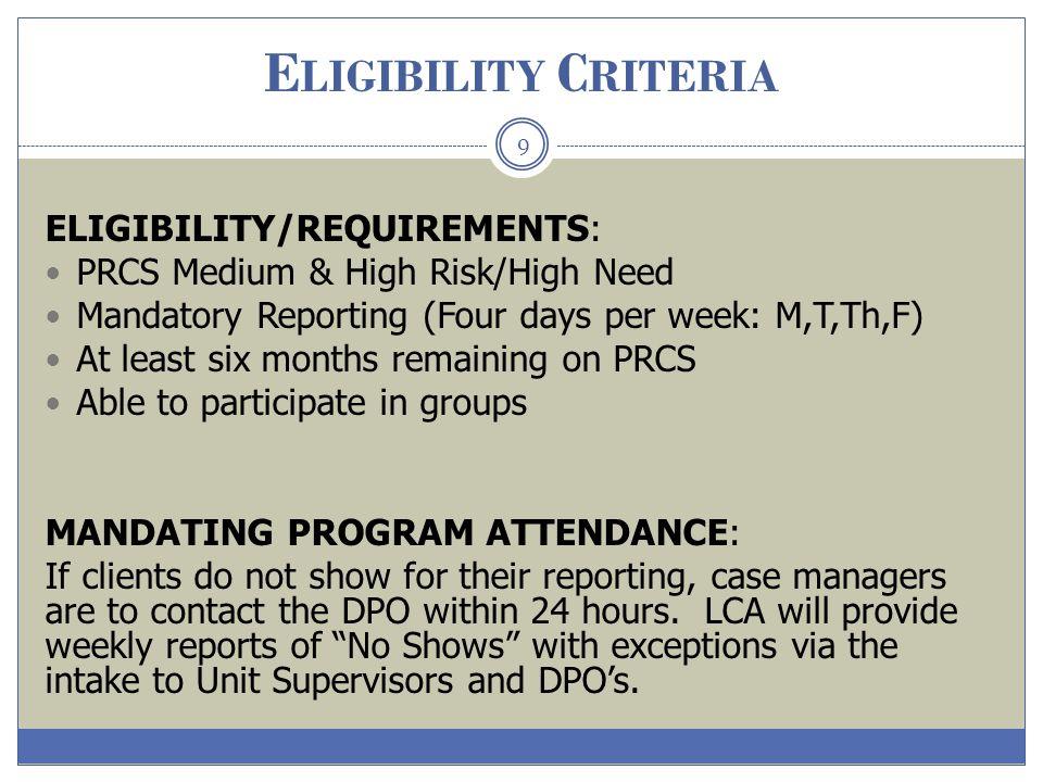 Eligibility Criteria ELIGIBILITY/REQUIREMENTS: