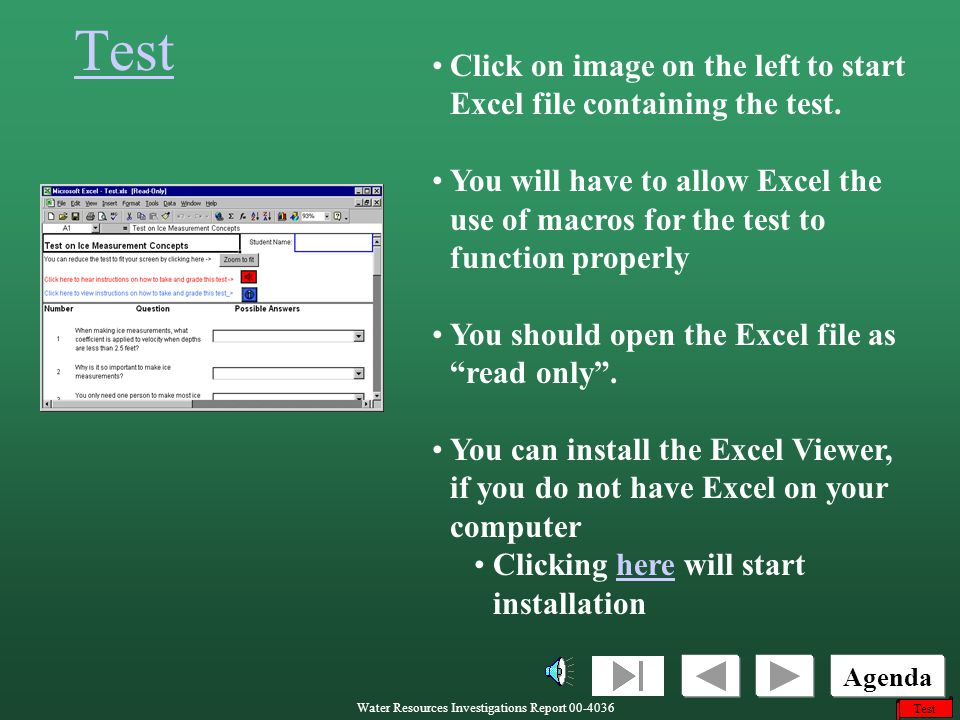 Test Click on image on the left to start Excel file containing the test.