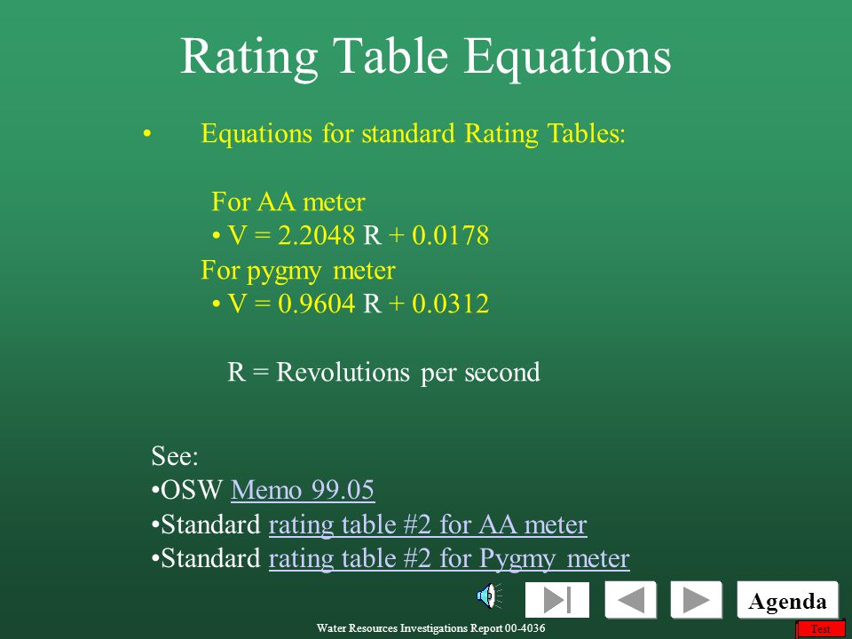 Rating Table Equations