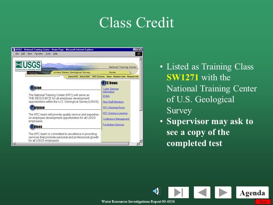 Class Credit Listed as Training Class SW1271 with the National Training Center of U.S. Geological Survey.
