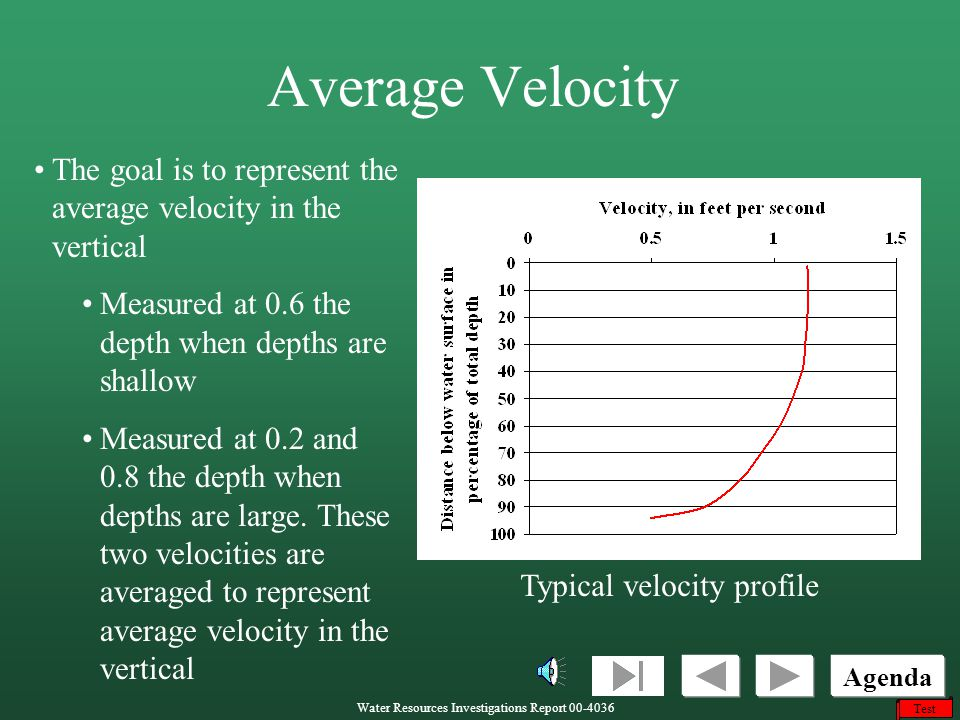 Average Velocity The goal is to represent the average velocity in the vertical. Measured at 0.6 the depth when depths are shallow.