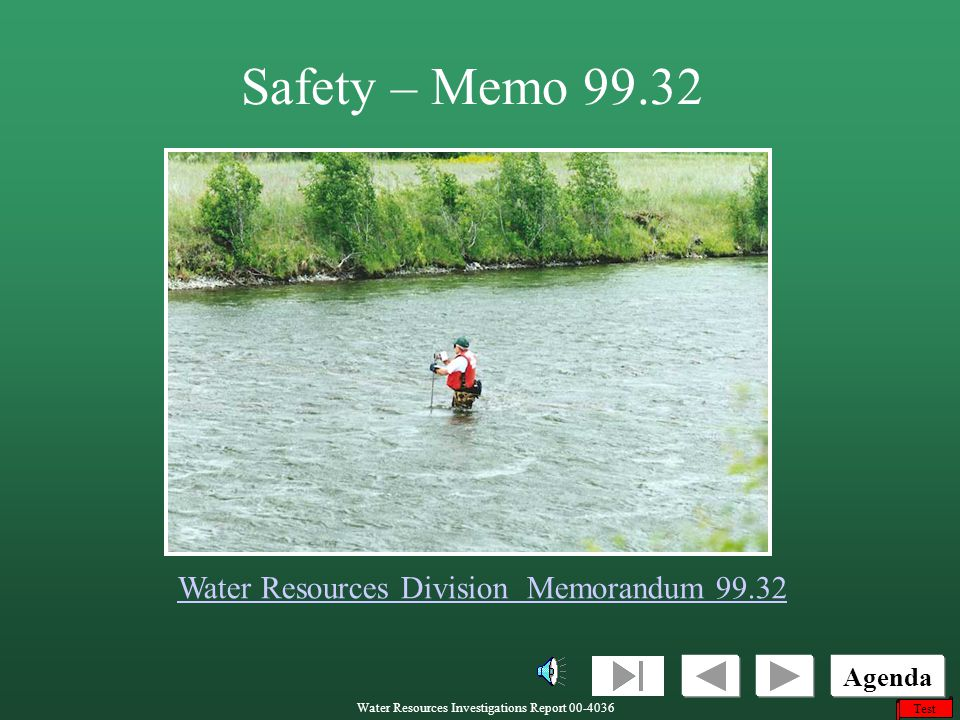 Safety – Memo 99.32 Water Resources Division Memorandum 99.32