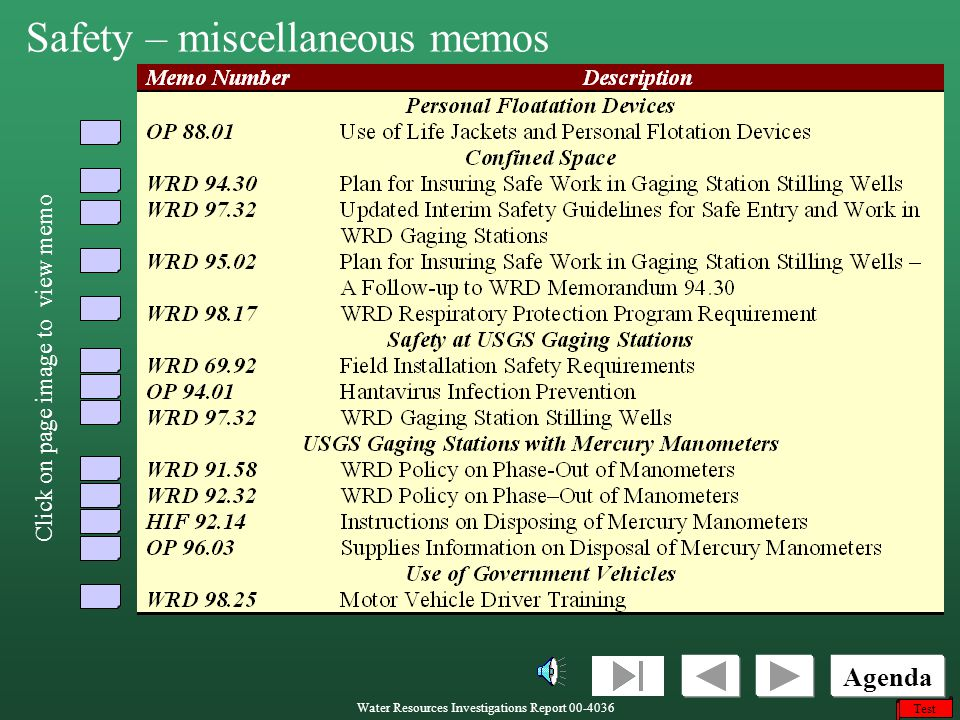 Safety – miscellaneous memos