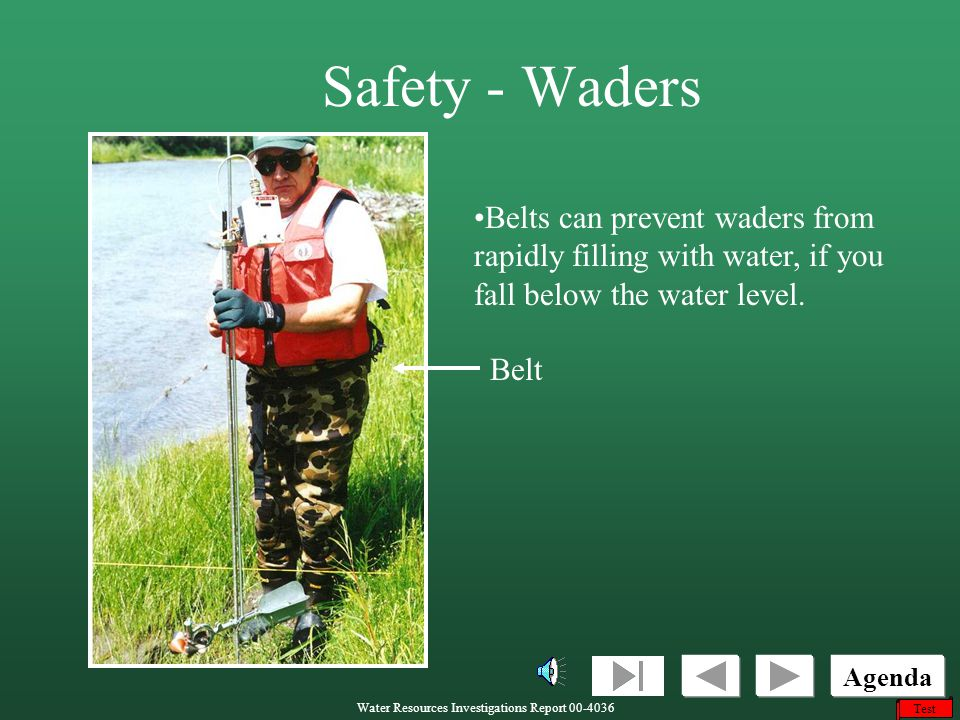 Safety - Waders Belts can prevent waders from rapidly filling with water, if you fall below the water level.