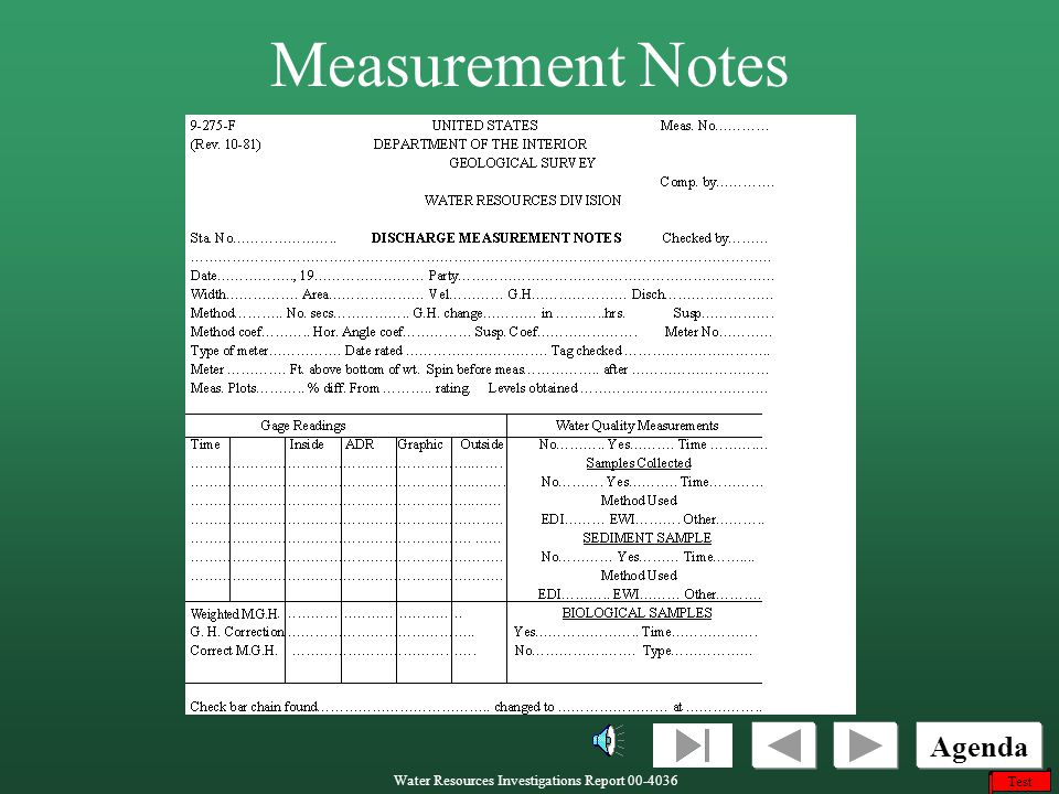 Measurement Notes