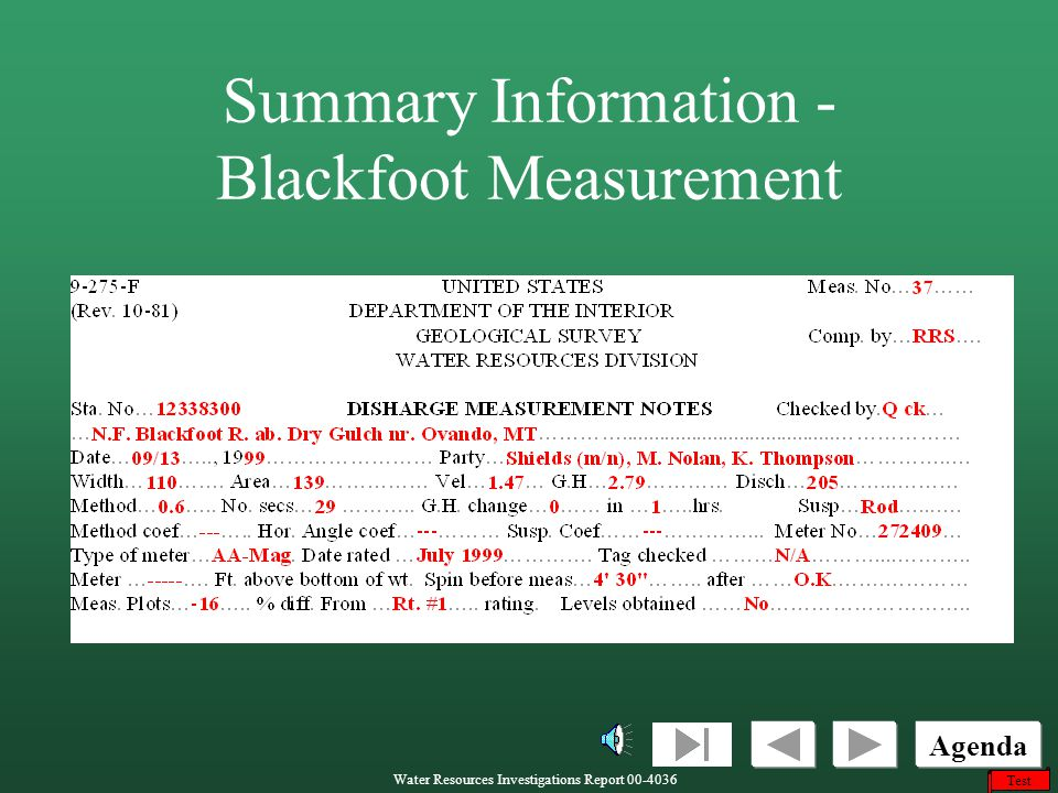 Summary Information - Blackfoot Measurement