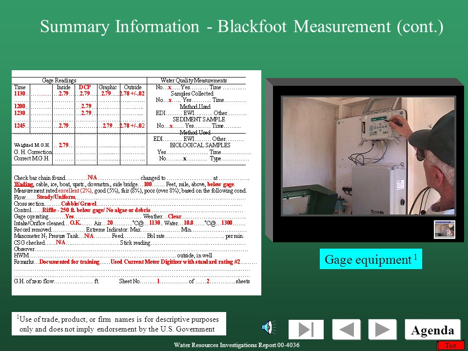 Summary Information - Blackfoot Measurement (cont.)