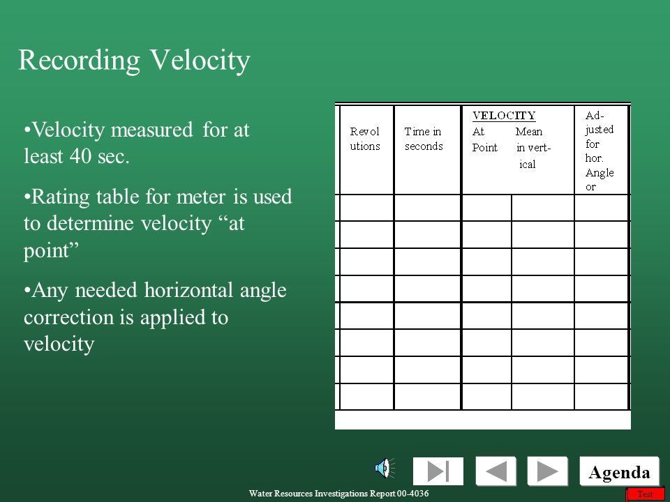 Recording Velocity Velocity measured for at least 40 sec.