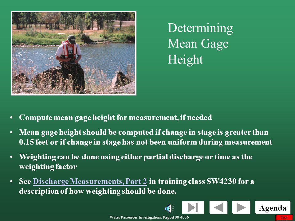 Determining Mean Gage Height