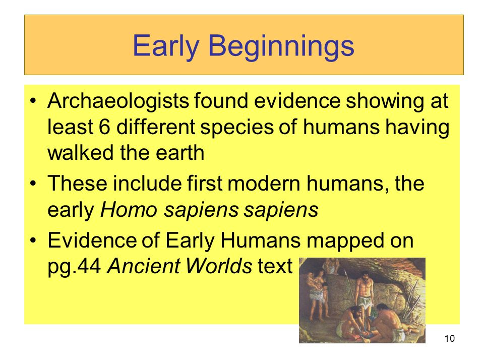 Early Beginnings Archaeologists found evidence showing at least 6 different species of humans having walked the earth.
