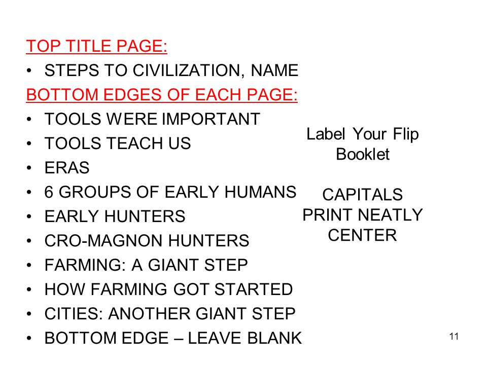 Label Your Flip Booklet CAPITALS PRINT NEATLY CENTER