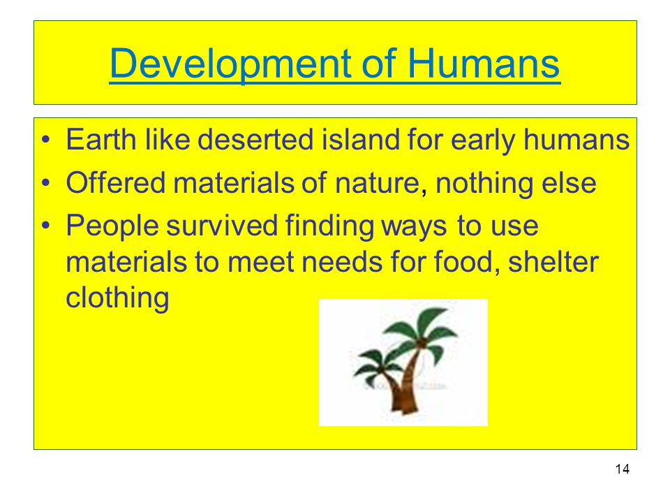 Development of Humans Earth like deserted island for early humans