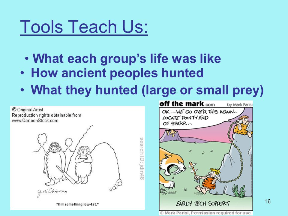 Tools Teach Us: What each group's life was like