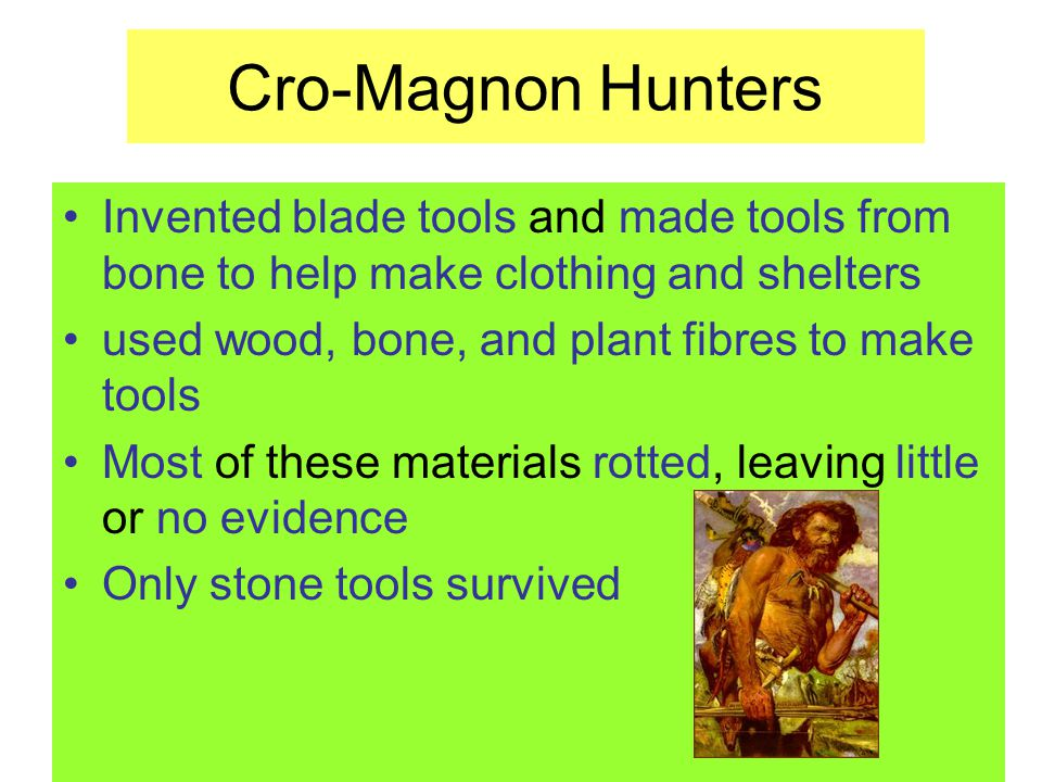 Cro-Magnon Hunters Invented blade tools and made tools from bone to help make clothing and shelters.