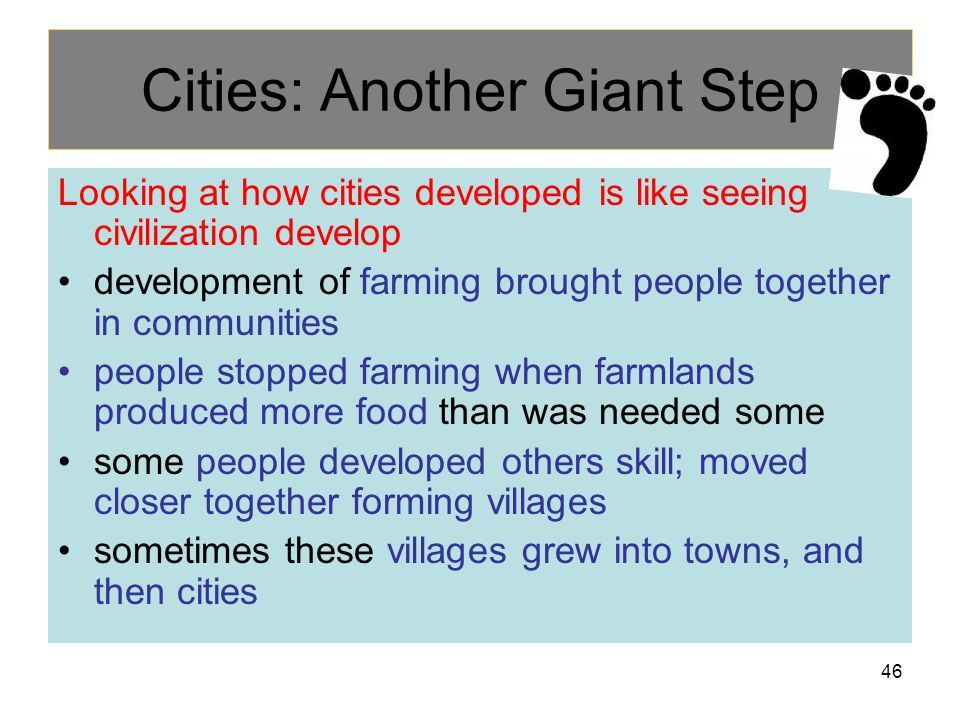 Cities: Another Giant Step