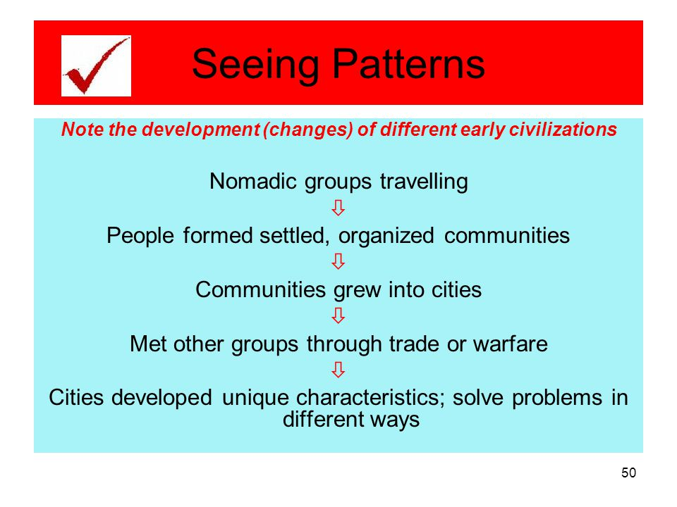 Note the development (changes) of different early civilizations