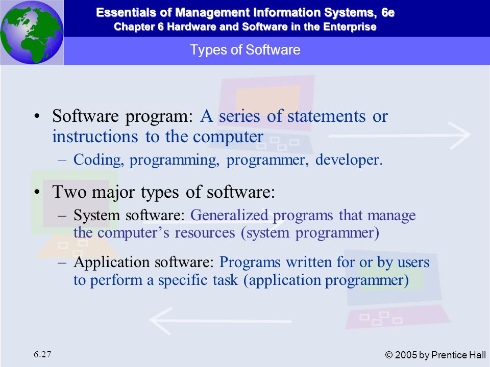 Two major types of software:
