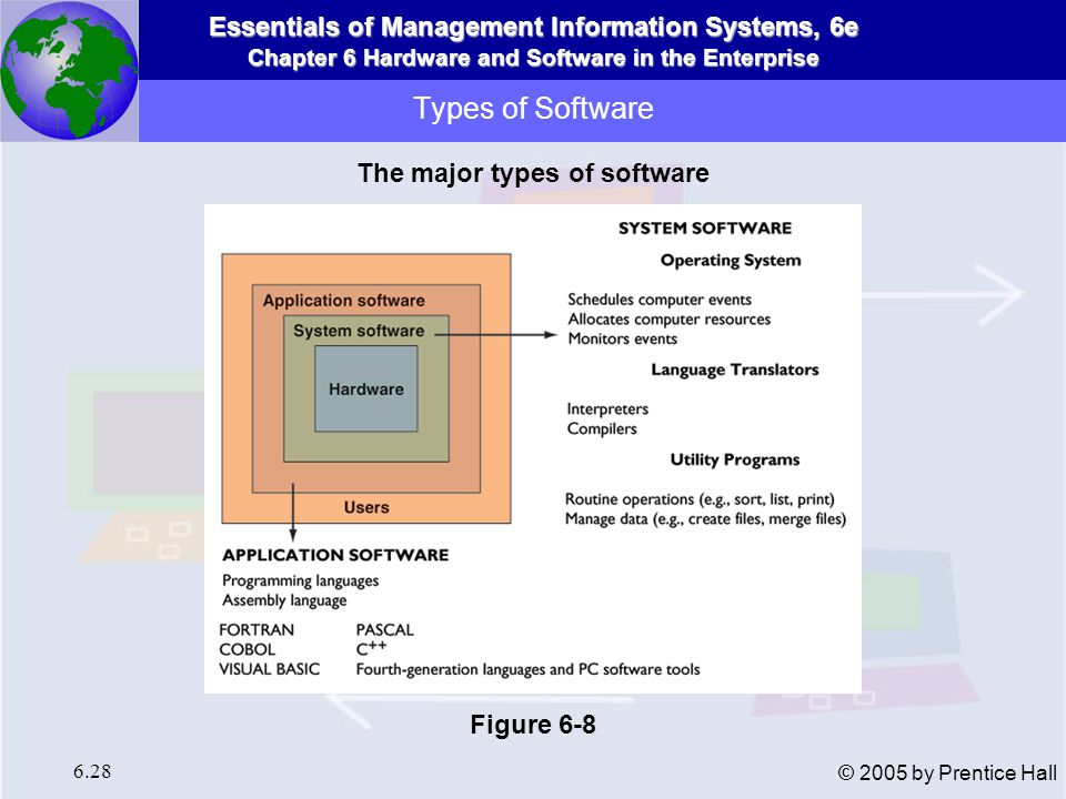 The major types of software