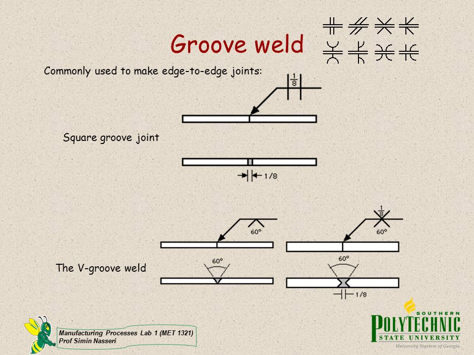 Groove weld Commonly used to make edge-to-edge joints: