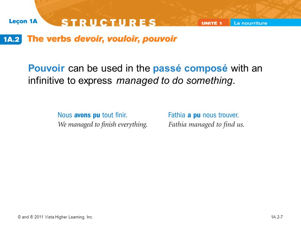 Pouvoir can be used in the passé composé with an infinitive to express managed to do something.