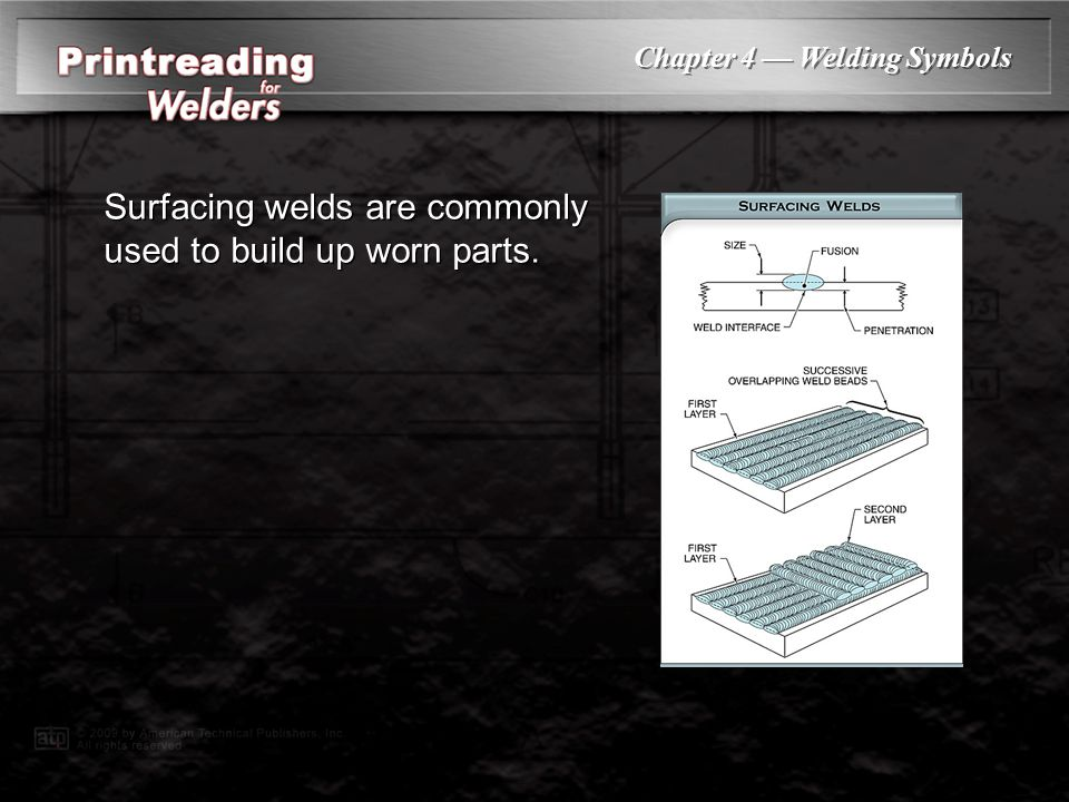 Surfacing welds are commonly used to build up worn parts.