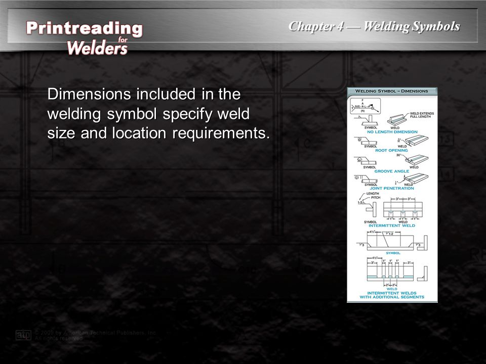 Dimensions included in the welding symbol specify weld size and location requirements.