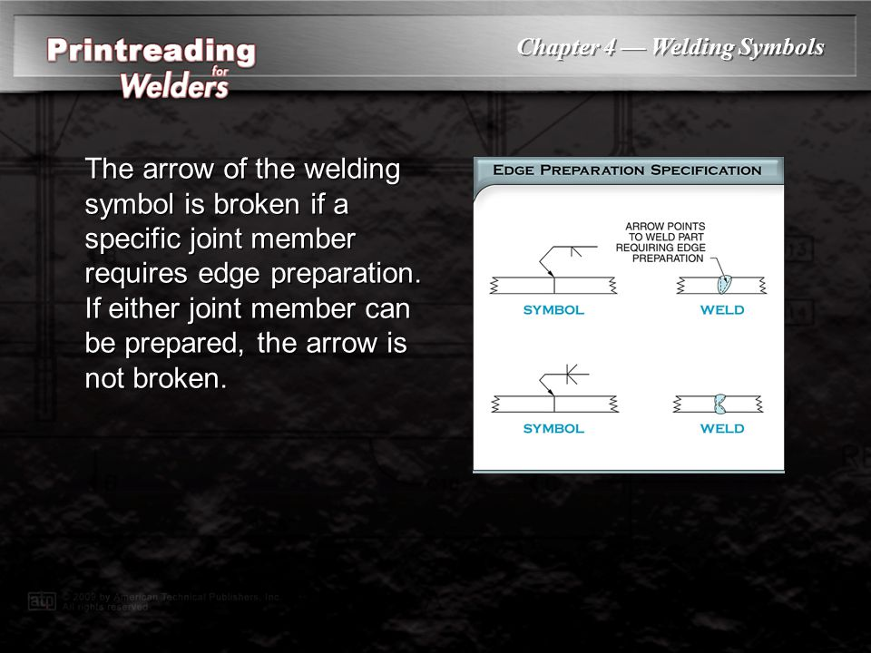 The arrow of the welding symbol is broken if a specific joint member requires edge preparation. If either joint member can be prepared, the arrow is not broken.