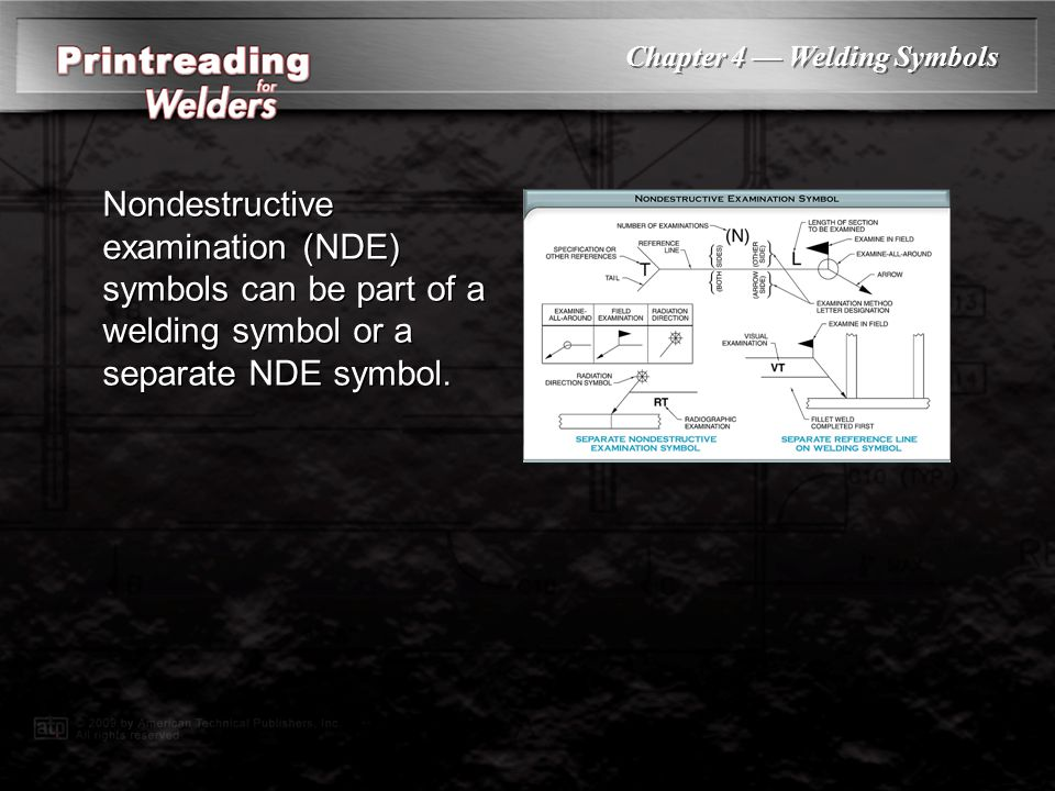 Nondestructive examination (NDE) symbols can be part of a welding symbol or a separate NDE symbol.