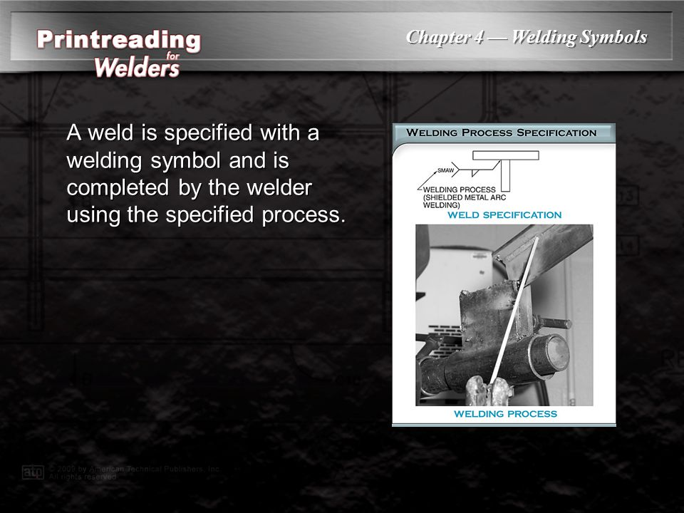 A weld is specified with a welding symbol and is completed by the welder using the specified process.