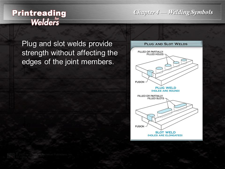 Plug and slot welds provide strength without affecting the edges of the joint members.