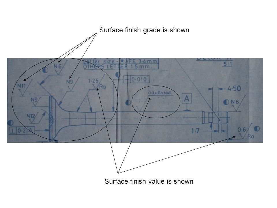 Surface finish grade is shown