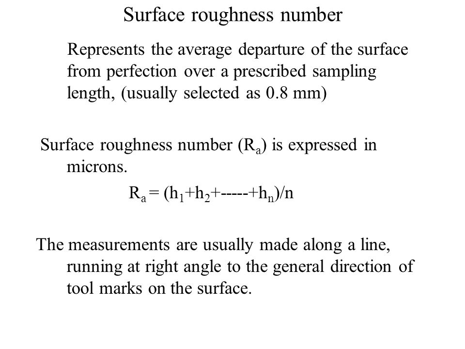 Surface roughness number