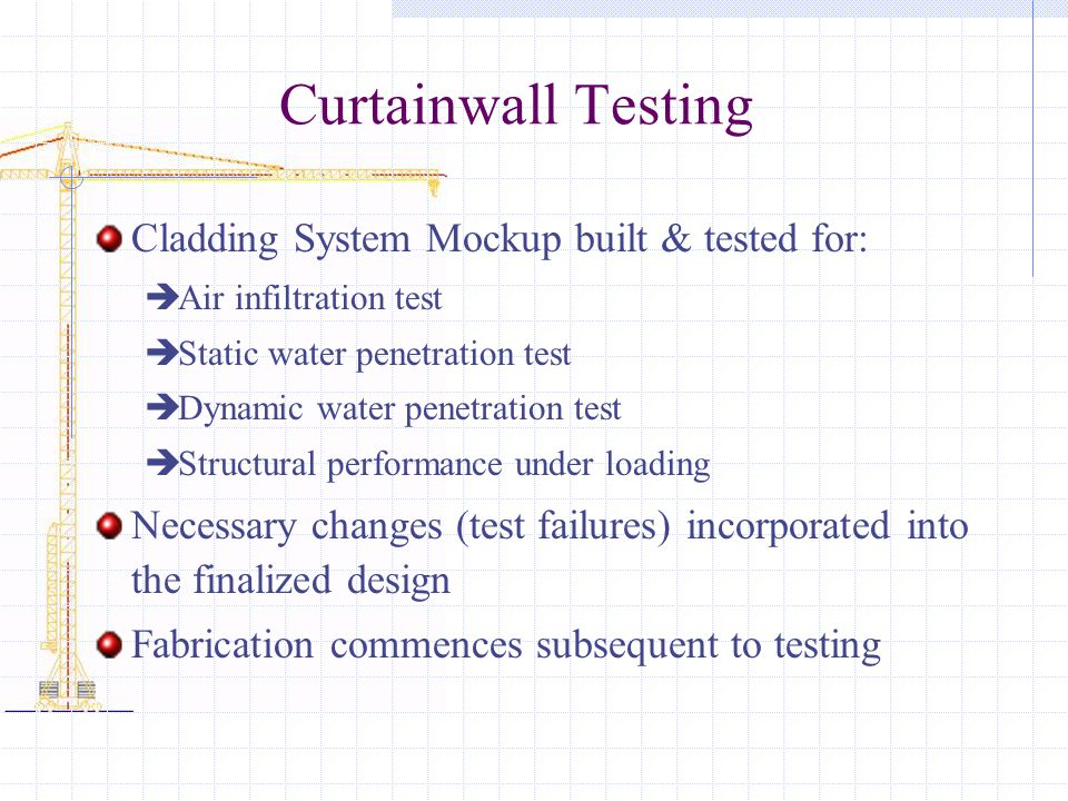 Curtainwall Testing Cladding System Mockup built & tested for: