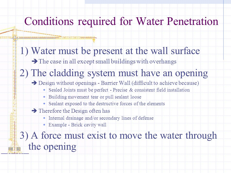Conditions required for Water Penetration