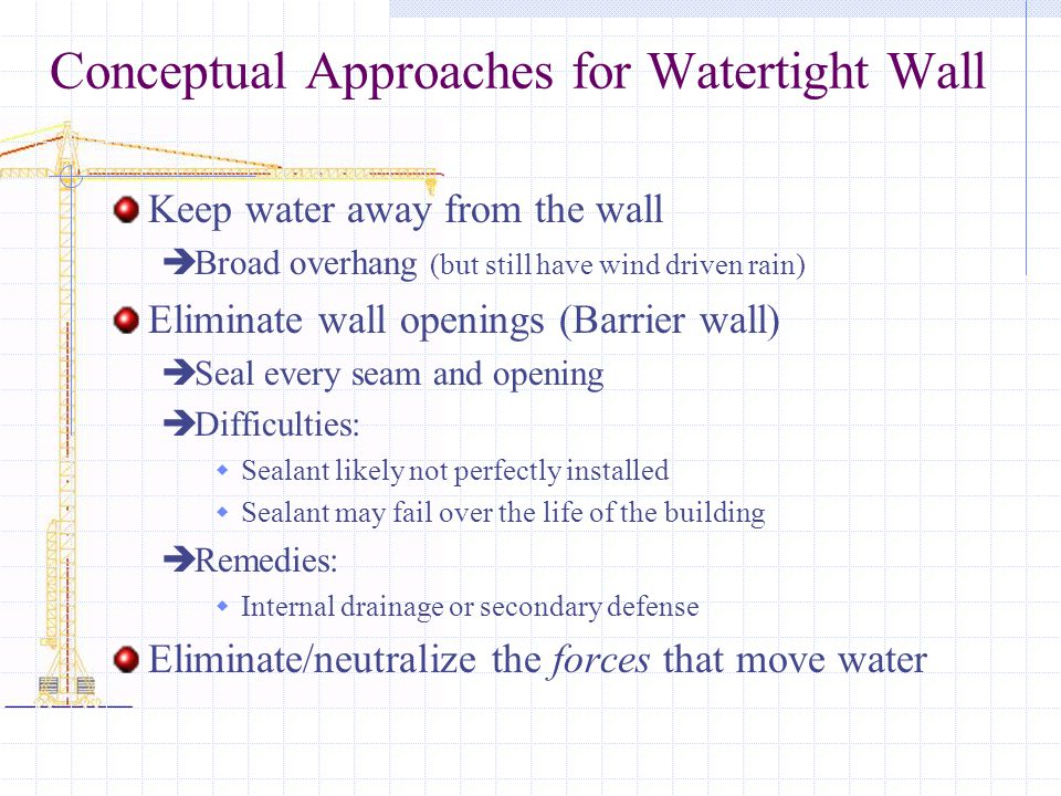 Conceptual Approaches for Watertight Wall