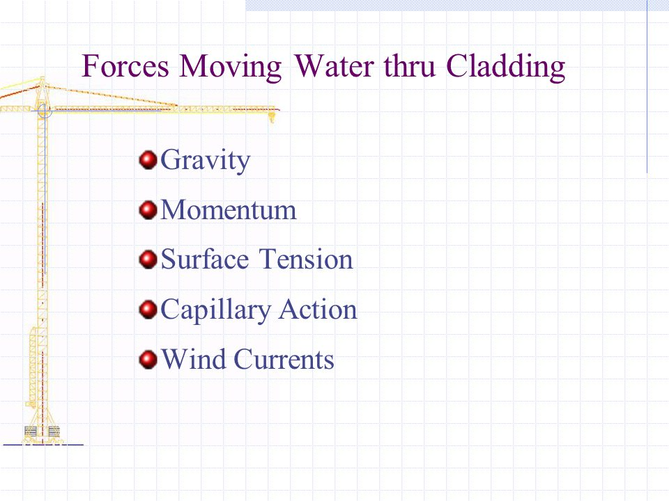 Forces Moving Water thru Cladding