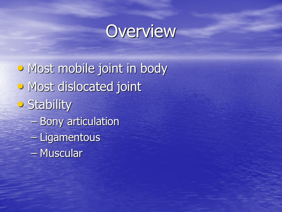 Overview Most mobile joint in body Most dislocated joint Stability