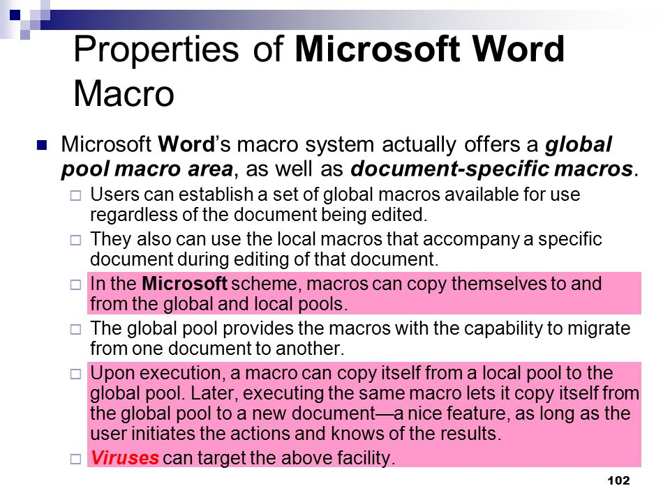Properties of Microsoft Word Macro