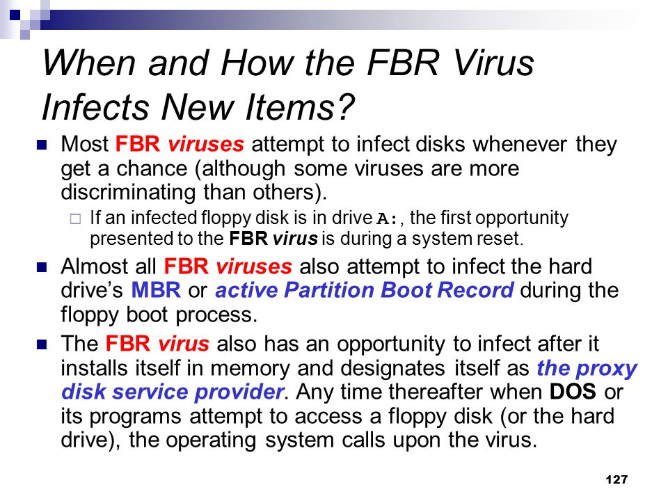 When and How the FBR Virus Infects New Items