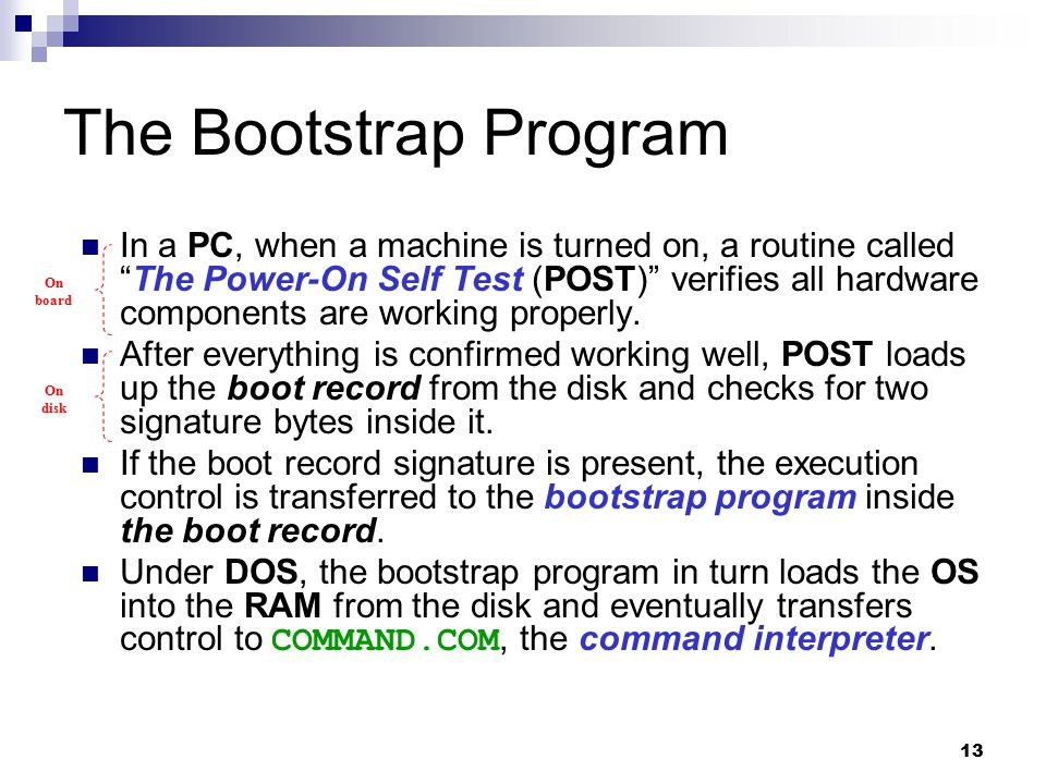The Bootstrap Program