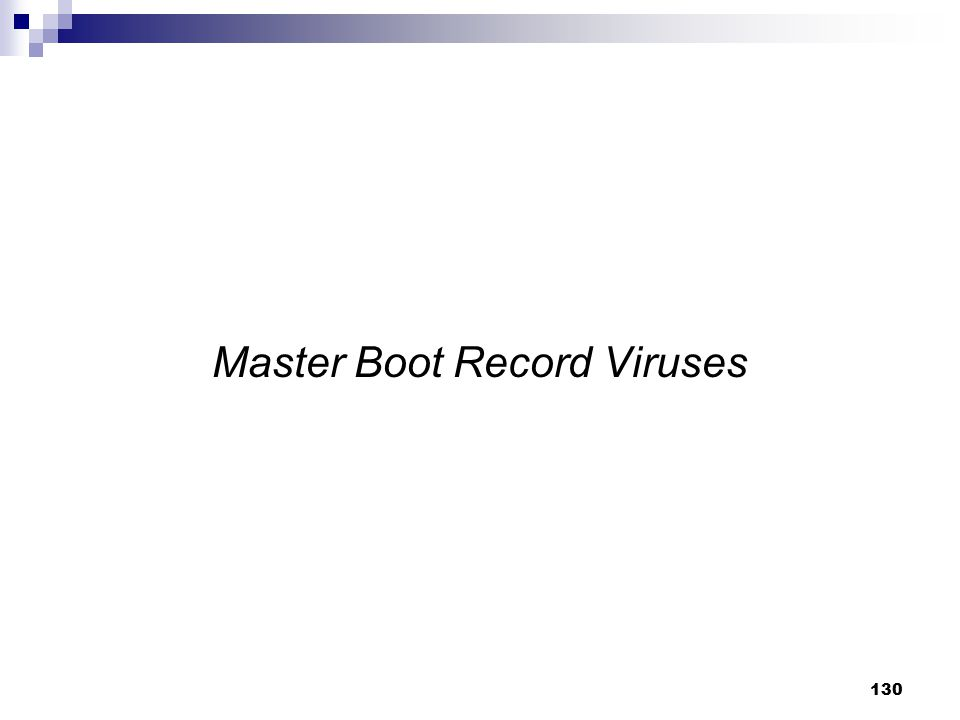 Master Boot Record Viruses