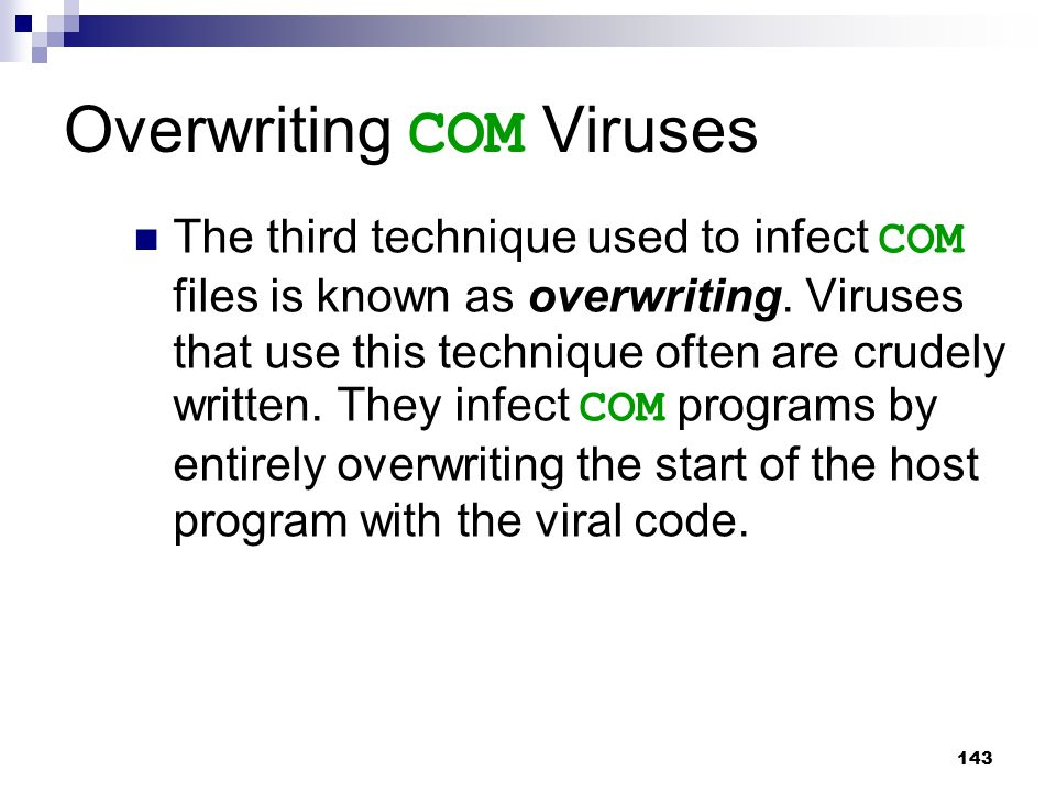 Overwriting COM Viruses