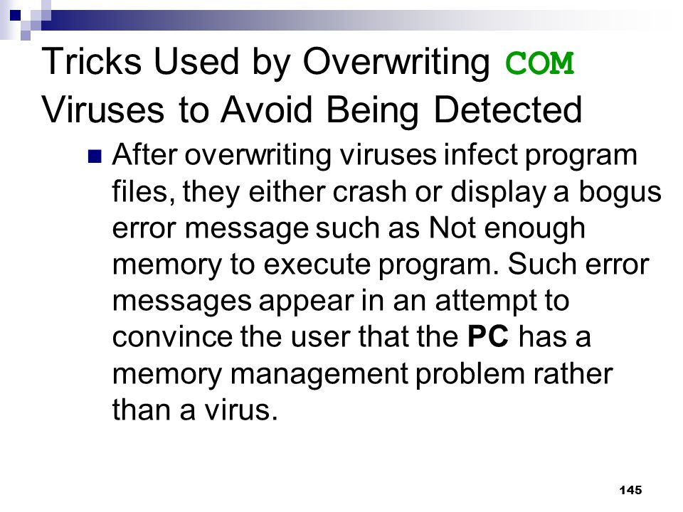 Tricks Used by Overwriting COM Viruses to Avoid Being Detected