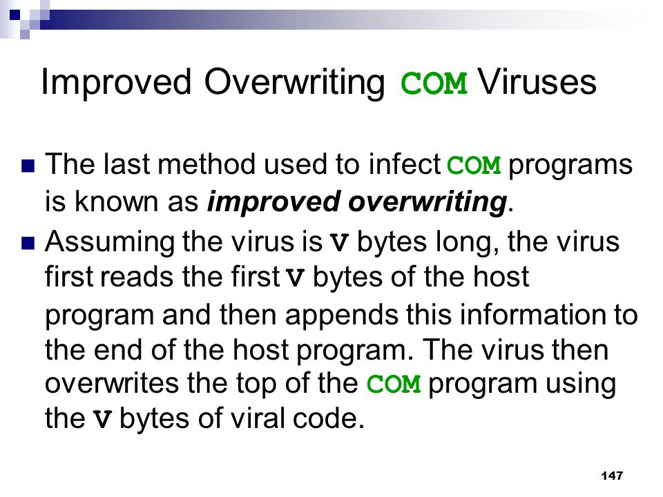 Improved Overwriting COM Viruses