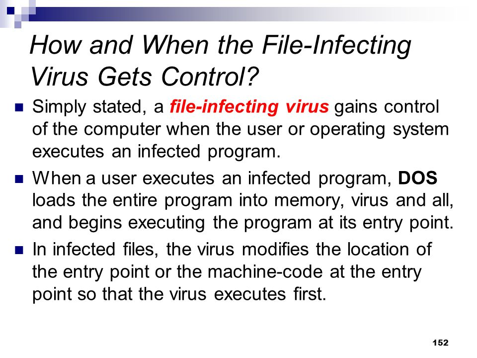 How and When the File-Infecting Virus Gets Control